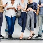 Social media-Group of people on their phones